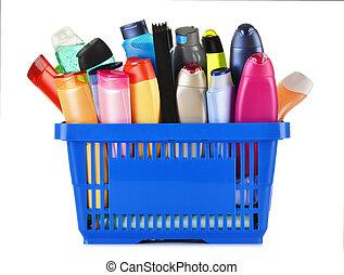プラスチック, 買物かご, ∥で∥, 体世話, そして, 美しさプロダクト