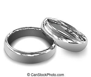 プラチナ, rings., ベクトル, イラスト, 結婚式