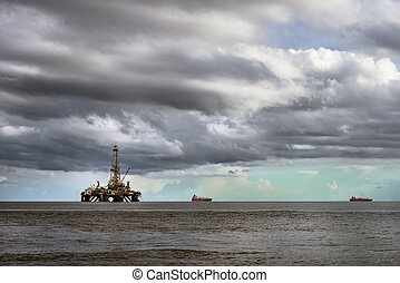 プラットホーム, オイル, 沖合いに, 海, 用具一式