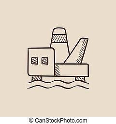 プラットホーム, スケッチ, オイル, icon., 沖合いに