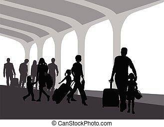 プラットホーム, 列車, 人々