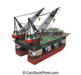 プラットホーム, 油田採掘, 沖合いに, 用具一式