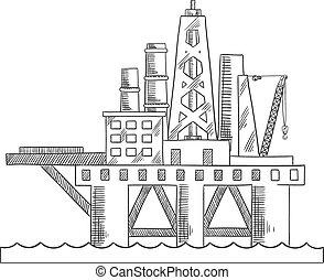プラットホーム, 油田採掘, 海, 沖合いに