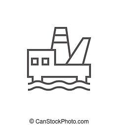 プラットホーム, 線, オイル, icon., 沖合いに