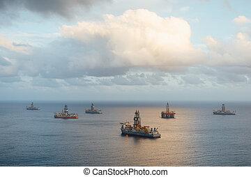 プラットホーム, drillships, オイル, ガス, 沖合いに