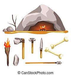 プリミティブ, 洞穴, 石, 道具, 武器, 隔離された, 年齢, アイコン, 歴史
