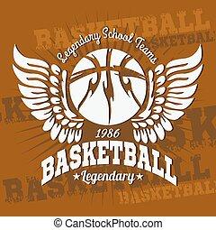 プリント, バスケットボール, 紋章, tシャツ, 旗, ポスター