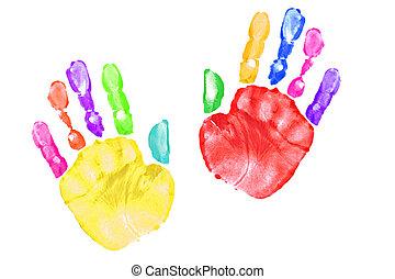 プリント, 子供, カラフルである, 手