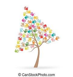 プリント, 木, 指, カラフルである