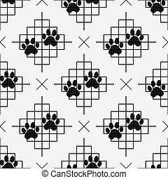 プリント, 足, パターン, ライン, 犬, seamless