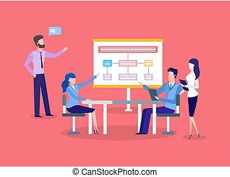 プレゼンテーション, チームワーク, ミーティング, ビジネス, チャート