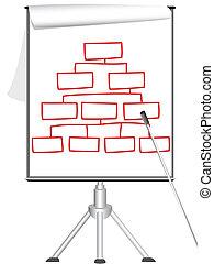 プレゼンテーション, フリップ 図表, 上に, 三脚