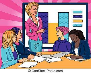 プレゼンテーション, 指すこと, グラフ, 統計上である, 寄付, オフィス, 女性実業家, 同僚
