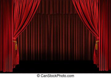 プレゼンテーション, 横, ステージ, 開いた, ドレープ