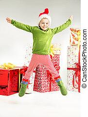 プレゼント, かわいい, 跳躍, 妖精, bacground