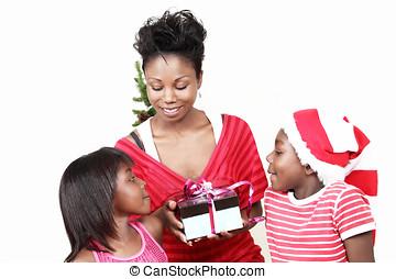 プレゼント, クリスマス, 家族