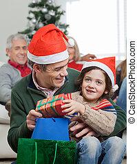 プレゼント, サンタクロース, 息子