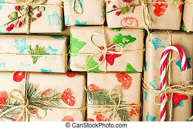 プレゼント, パックされた, クリスマス, 背景