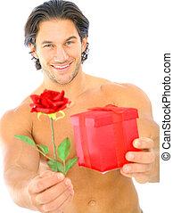 プレゼント, 人, 若い, 提供, ハンサム, バラ, 赤