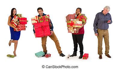 プレゼント, 多数, クリスマス, 家族