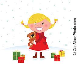プレゼント, 女の子, クリスマス, 幸せ