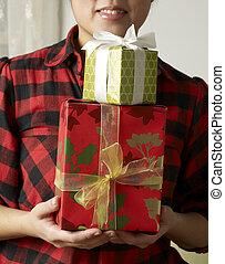 プレゼント, 女, 2, 保有物, クリスマス