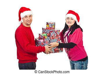 プレゼント, 恋人, クリスマス, 保有物