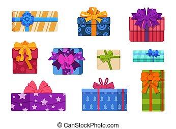 プレゼント, 新しい, 誕生日プレゼント, 広場, 祝福, 白, boxes., カラフルである, ベクトル, パーティー, お辞儀をする, ribbons., 隔離された, セット, バックグラウンド。, パッケージ, 包まれた, 漫画, 年, 休日, クリスマス