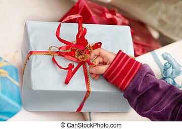 プレゼント, 時間, -, クリスマス, 開始