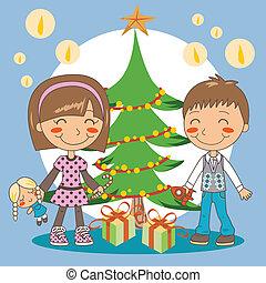 プレゼント, 木, クリスマス