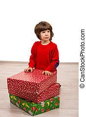 プレゼント, 男の子, クリスマス