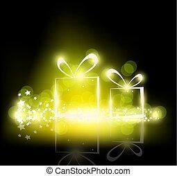 プレゼント, 黒い背景, 光っていること, クリスマス