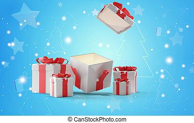 プレゼント, 3d-illustration, 開いた, 雪, クリスマス
