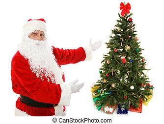 プレゼント, claus, 木, クリスマス, santa