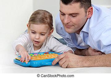 プレーしなさい, おもちゃ, 娘, 監視, 父, 電子