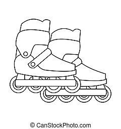 プレーしなさい, アウトライン, アイコン, シンボル, スタイル, 隔離された, バックグラウンド。, ベクトル, スケート, インラインである, 白, 株, 庭, illustration.
