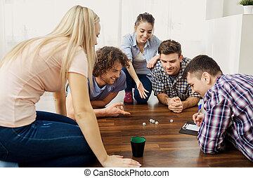 プレーしなさい, グループ, 床, ゲーム, 板, indoors., 友人