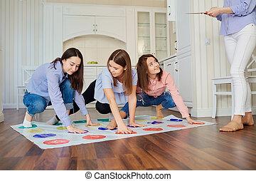 プレーしなさい, グループ, 床, ゲーム, indoors., 友人