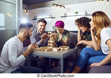 プレーしなさい, グループ, room., ゲーム, 板, 友人