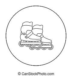 プレーしなさい, スタイル, illustration., アイコン, スクーター, 隔離された, バックグラウンド。, ベクトル, スケート, インラインである, 白, 株, シンボル, 庭, アウトライン