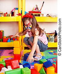 プレーしなさい, セット, 部屋, 困惑, 建設, 子供, ブロック