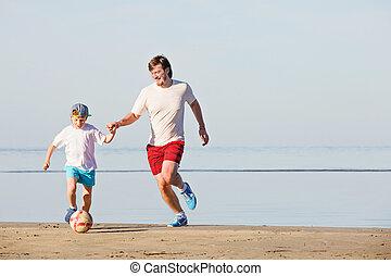 プレーしなさい, フットボール, 父, 息子, サッカー, 浜, ∥あるいは∥, 幸せ