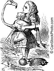 プレーしなさい, フラミンゴ, 彼女, 困難, 管理する, 型, -, 冒険, 最初に, アリス, クローケ, 責任者, ハリネズミ, alice's, 不思議の国, 見いだされた, つらい, あった, オリジナル, engraving., flamingo...