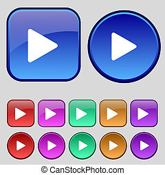 プレーしなさい, ボタン, あなたの, セット, アイコン, 12, 印。, 型, design.