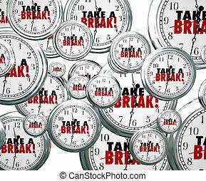 プレーしなさい, 休止, 仕事, リラックスしなさい, 飛行, 止まれ, 残り, 壊れなさい, clocks, 取得, 言葉