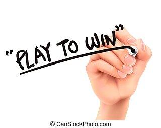 プレーしなさい, 勝利, 書かれている手, 言葉, 3d