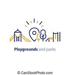 プレーしなさい, 地域, 公園, 装置, 運動場, 子供, 支部