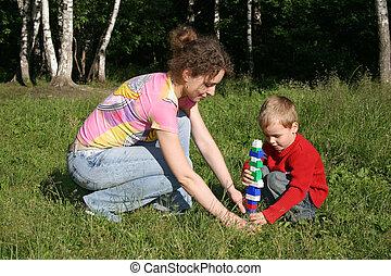 プレーしなさい, 子供, 公園, 母
