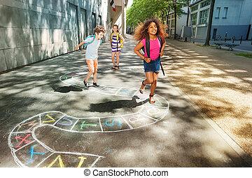 プレーしなさい, 子供, 学校, hopscotch, 年齢, 3, 幸せ