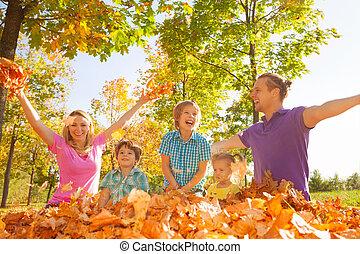 プレーしなさい, 家族, 投げる, 葉, 空気, の間